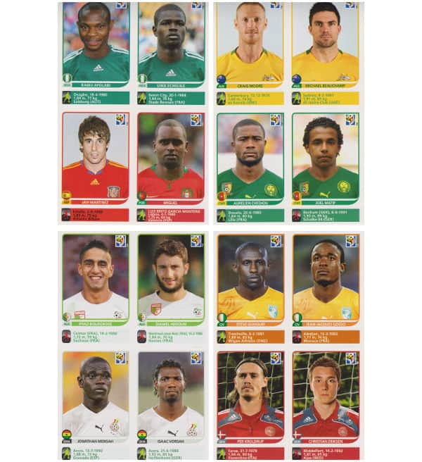 Panini Coupe du Monde 2010 - 80 extra stickers 20 feuilles 05-08