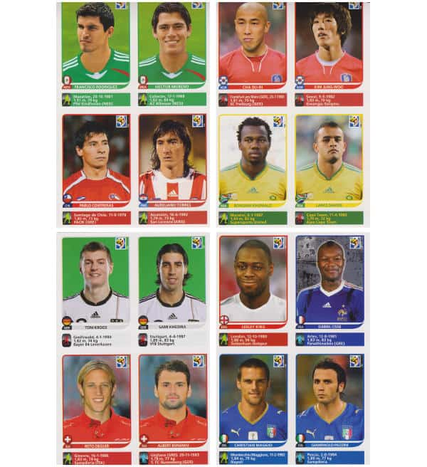 Panini Coupe du Monde 2010 - 80 extra stickers 20 feuilles 09-12
