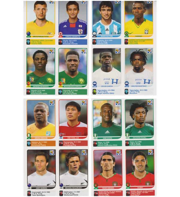 Panini Coupe du Monde 2010 - 80 extra stickers 20 feuilles 13-16