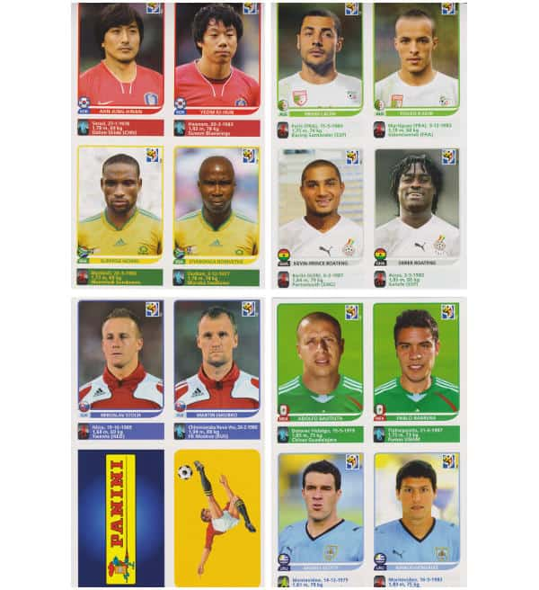 Panini Coupe du Monde 2010 - 80 extra stickers 20 feuilles 17-20
