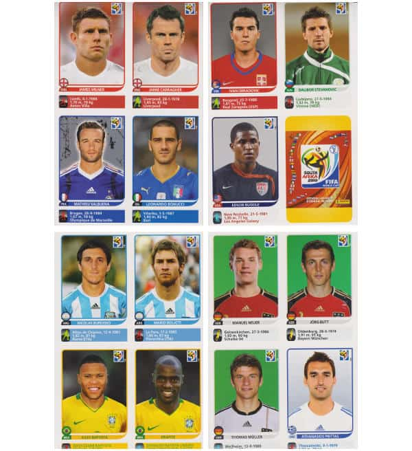 Panini Coupe du Monde 2010 - 80 extra stickers 20 feuilles