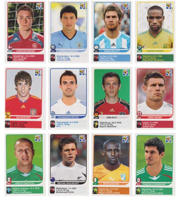 Panini Coupe du Monde 2010 - 80 extra stickers individuels 13-24