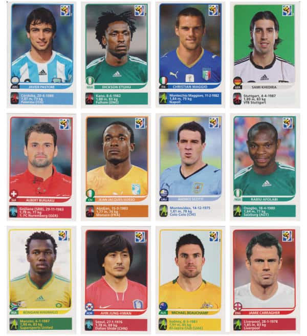 Panini Coupe du Monde 2010 - 80 extra stickers individuels 25-36
