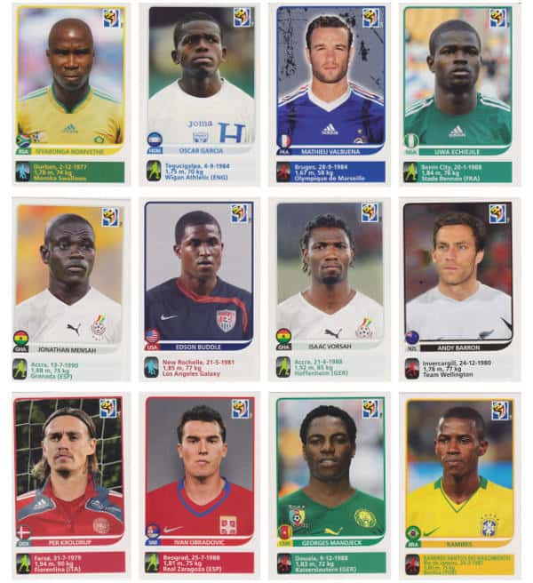 Panini Coupe du Monde 2010 - 80 extra stickers individuels 37-48