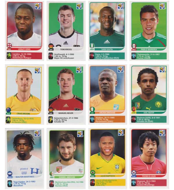 Panini Coupe du Monde 2010 - 80 extra stickers individuels 49-60