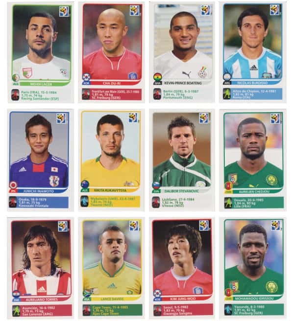 Panini Coupe du Monde 2010 - 80 extra stickers individuels 61-72
