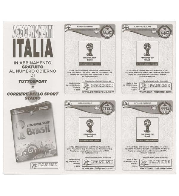 Panini Coupe du Monde 2014 Update Italie - feuille dos