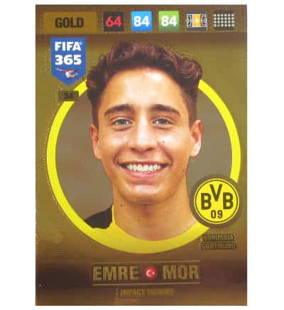 Panini FIFA 365 2017 Adrenalyn XL carte or Emre Mor