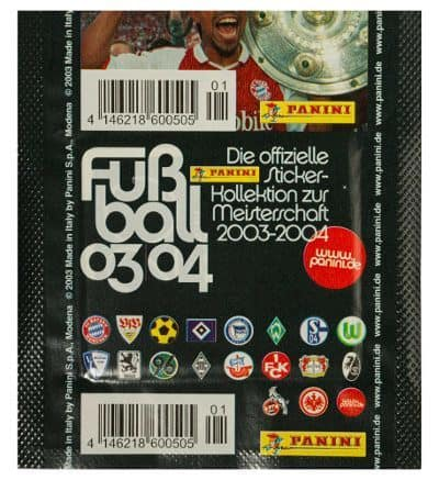 Panini Fussball 2003-2004 pochette Version écussons du club derrière
